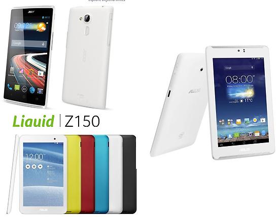 (왼쪽 위부터 시계방향) 에이서의 3G전용 스마트폰 'Z150 리퀴드 Z5', 에이수스  '폰패드7 LTE' 및  '미모패드7' 태블릿.