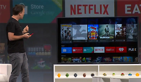25일(현재시간) 구글 'I/O' 키노트에서 '안드로이드 TV'가 소개되고 있다.