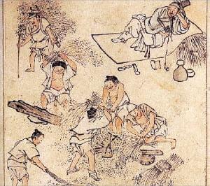 김홍도의 풍속화(벼타작도). 벼를 수확해 타작하는 모습을 그리고 있는데 이들 중에는 분명히 노비가 있었을 것이다. 조선시대에 노비에게 비천한 이름을 지어주는 경우가 많았지만 옷이나 머리모양으로 일반 양인과 표나게 구별하지는 않았다.