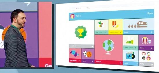 마티아스 두아르테 구글 부사장이 최근 미국 샌프란시스코에서 열린 개발자 콘퍼런스에서 새로운 안드로이드 운영체제(OS)에 적용할 '머티리얼(직물) 디자인'을 설명하고 있다. 구글 제공