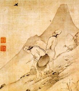 공재 윤두서(1668~1715)의 나물 캐는 여인을 그린 채애도(採艾圖). 목가적인 풍경으로 보이지만 봄에 식량이 떨어져 산에서 먹을거리를 찾는 모습이다. 대표적인 구황식물이 쑥이었다. 가을에 추수한 양식은 모두 떨어지고 봄에 아직 보리가 여물기 전에 가장 굶주림이 심하였다.