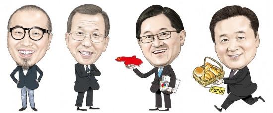 왼쪽부터 김봉진 대표, 김영기 회장, 서경배 회장, 허영인 회장.