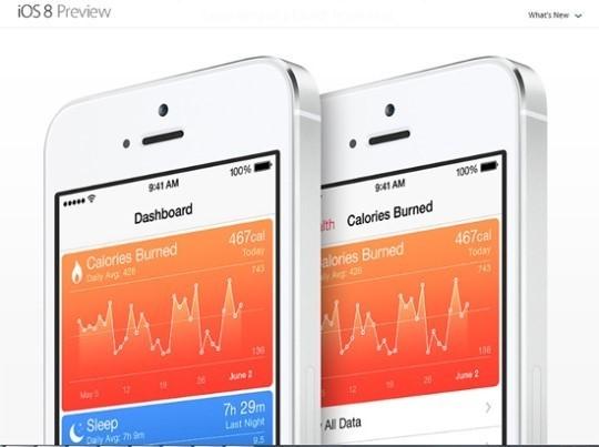 애플이 iOS8 버전에 새로 선보이는 '헬스' 관련 서비스. 출처=애플 공식 홈페이지