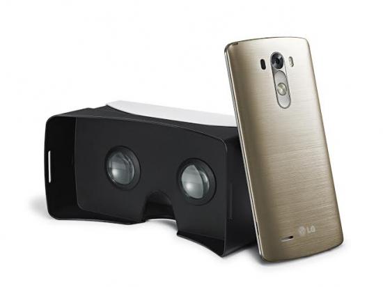 LG전자가 제공하는 VR기기 'VR for G3'의 후면과 'G3' 스마트폰 후면 이미지.