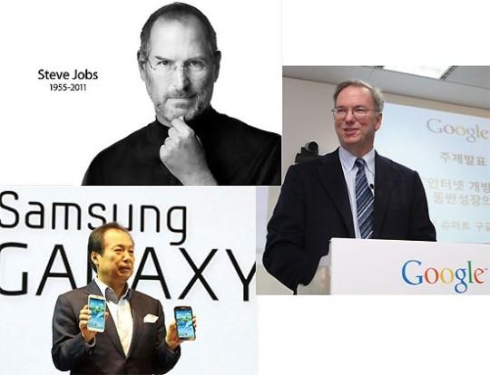 (왼쪽 위부터 시계방향) 고(故)스티브 잡스 애플 창업자, 에릭 슈미트 구글 회장, 신종균 삼성전자 IT·모바일 부문 사장.