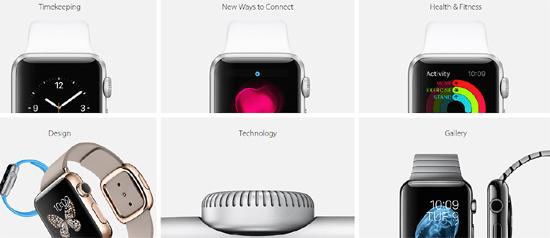 애플 홈페이지에 공개된 애플 워치의 다양한 모습.