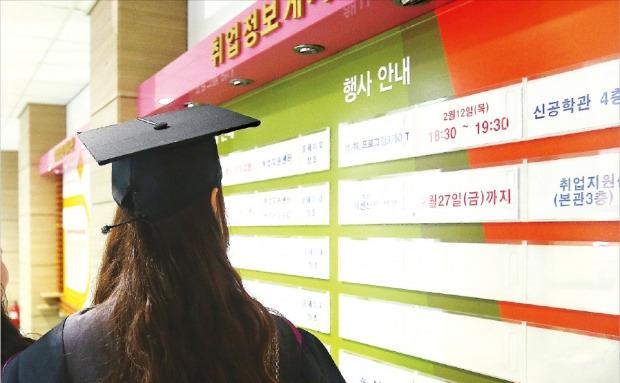 대학 생활의 결실로 학사 학위를 받는 날에도 졸업생의 마음은 착잡하기만 하다. '고용 가뭄' 때문이다. 동국대 학위수여식이 열린 지난달 24일 한 졸업생이 취업정보 게시판을 들여다보고 있다. 연합뉴스