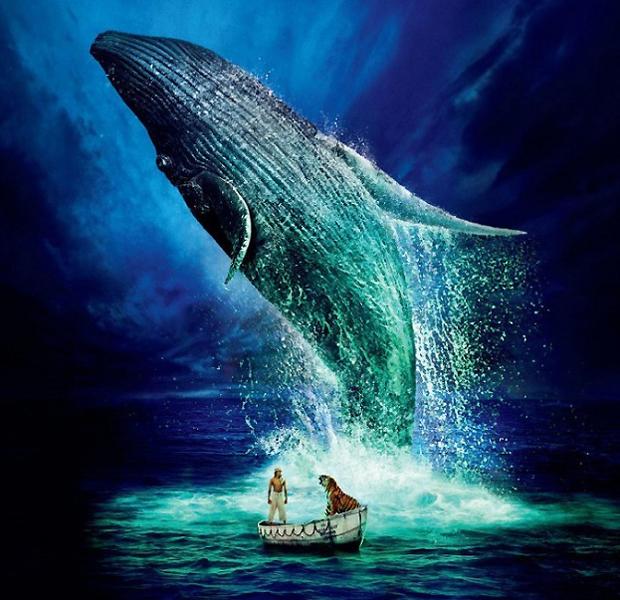 영화 '라이프 오브 파이' 포스터. 흰긴수염고래가 영롱한 형광빛으로 물든 해수면을 뚫고 뛰어오르고 있다.