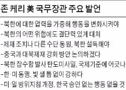 """케리 미 국무 """"압박 높여 북한 행동 변화시켜야"""""""