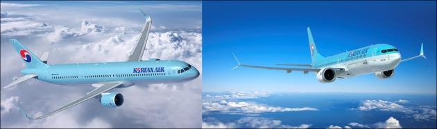 차세대 A321네오 항공기(왼쪽)과 차세대 B737맥스 항공기. 사진=대한항공 제공