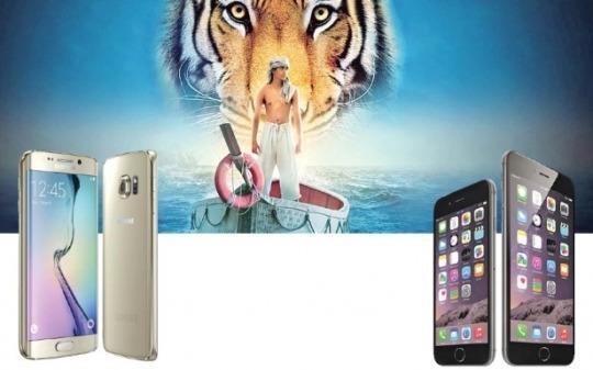 (왼쪽) 삼성전자의 갤럭시S6 · S6 엣지와 (오른쪽) 애플의 아이폰6 · 6플러스.