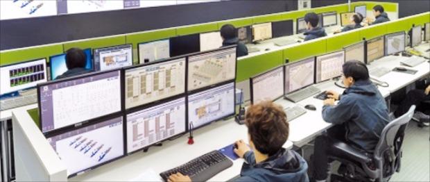 강원창조혁신센터의 빅데이터 사업을 뒷받침할 춘천시 동면에 있는 네이버 데이터센터 '각' 관제실에서 직원들이 내부 시스템을 모니터링하고 있다.