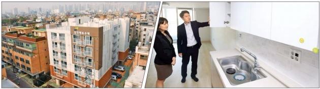 서울 송파구 삼전지구에서 사회초년생·신혼부부용 임대주택인 행복주택(왼쪽)이 27일 첫 집들이를 했다. 입주민이 부엌을 살펴보고 있다. LH 제공