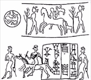 근동과 중앙아시아의 말 타는 사람을 표현한 서기전 2000년 이전의 그림들. 에코리브르 제공