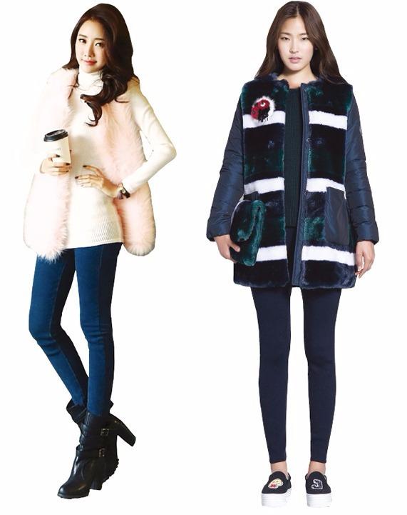 인조모피 스트리트 패션 선보인 나크21(좌)·캐주얼 느낌 인조모피 점퍼 질 바이 질스튜어트(우)