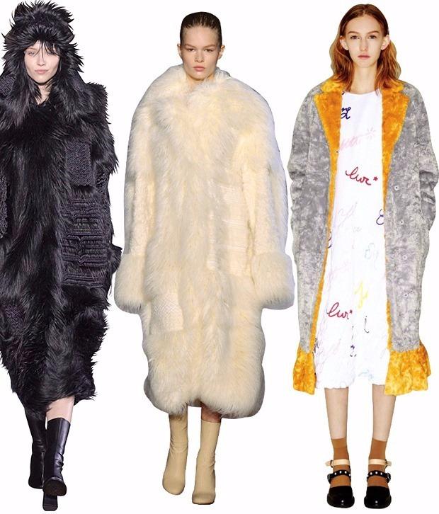 사진 왼쪽부터 스텔라 매카트니의 인조모피 코트, 부드러운 촉감·결 살린 인조모피 코트 스텔라 매카트니, 다양한 인조모피 색상·디자인 연출한 프리마돈나