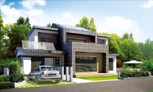 단독주택으로 건축물 에너지효율등급 1++를 받은 경남 거창 송정지구의 주택 조감도.