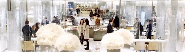 신세계백화점이 17개월간의 증축 공사를 끝내고 서울 강남점 신관을 25일 공개했다. 브랜드별 칸막이를 없애고 특정 품목을 편집매장 형태로 한데 모은 4개의 전문관으로 구성한 게 특징이다. 연합뉴스