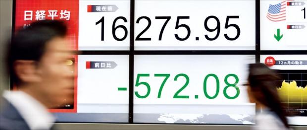 닛케이225지수가 3.4% 급락한 18일 일본 도쿄 시민들이 주가지수 전광판 옆을 지나가고 있다. 도쿄AFP연합뉴스