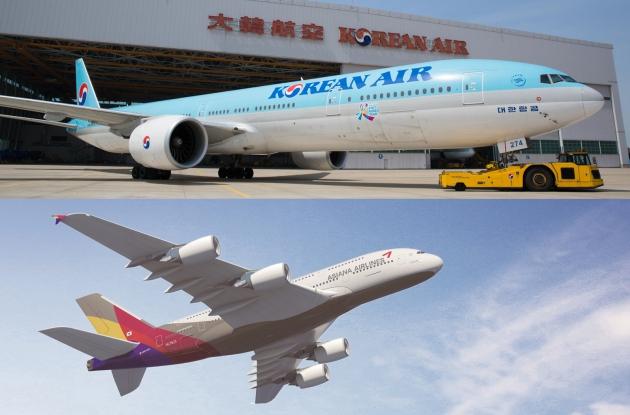 대한항공과 아시아나 항공기. 사진=대한항공·아시아나항공 제공