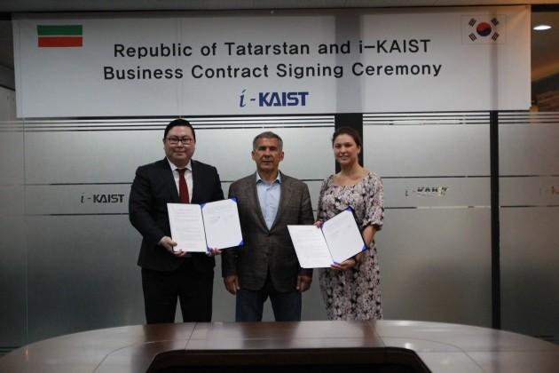 왼쪽부터 김성진 아이카이스트 대표, 민니하노프 타타르스탄 대통령, 미눌리나 타타르스탄 투자청 장관