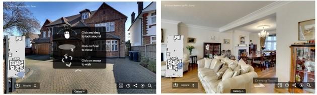 < 버츄얼 워크스루(Virtual Walkthrough)의 가상 부동산 투어 화면. 출처=버츄얼 워크스루 홈페이지>