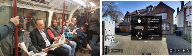 영국의 지하철 '튜브'에서는 모바일 인터넷이 안잡힌다. 반면 금융에서는 가상현실은 이용한 부동산 투어 등을 실시하고 있다. 사진=한경닷컴 김근희/버츄얼 워크스루 홈페이지