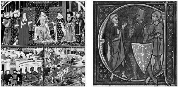 귀족, 사제, 상인, 노동자를 묘사한 1420년 삽화(왼쪽)와 기도하는 자, 전쟁하는 자, 허드렛일을 하는 자를 묘사한 13세기 삽화. 원더박스 제공