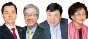 왼쪽부터 한민구 국방부 장관, 김종덕 문체부 장관, 서정진 셀트리온 회장, 김수현 극작가