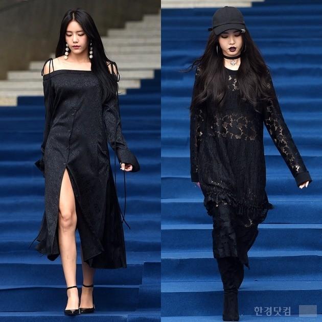 헤라 서울 패션위크 s/s 2017 '제이쿠' AOA 혜정(왼쪽), 황승언 /사진=최혁 기자