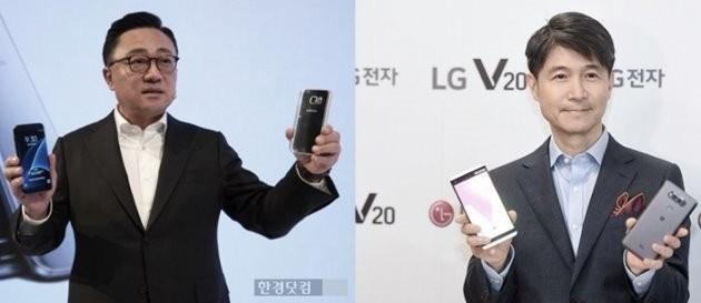 고동진 삼성전자 사장(왼쪽)과 조준호 LG전자 사장