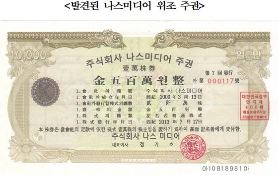 예탁결제원, 나스미디어 위조주권 7억원어치 발견