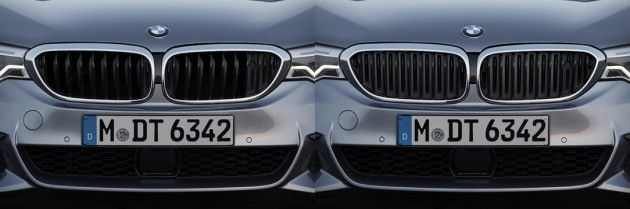 최근 국내에 출시된 BMW 뉴 5시리즈에는 공기의 흐름을 단속하는 '액티브 에어스트림 키드니 그릴'이 장착됐다. 왼쪽 사진 중앙의 라디에이터 그릴은 열려 있는 상태이고, 오른쪽 사진은 닫혀 있는 모습니다. 사진 제공=BMW코리아