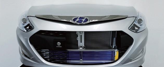 현대자동차의 쏘나타 하이브리드에 장착된 '액티브 에어 플랩'. 자동차 전면 하단에 파란색 부분이 '액티브 에어 플랩'이다. 사진제공=현대모비스