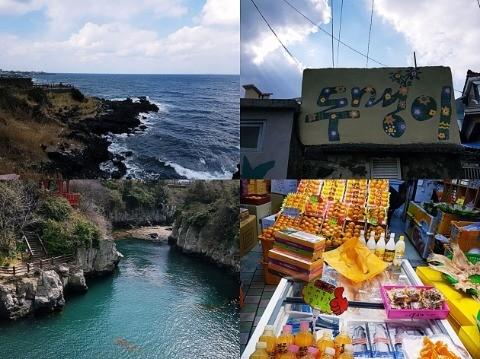 <사진: 제주 볼거리. 용두암, 두멩이골목, 용연구름다리, 동문시장>
