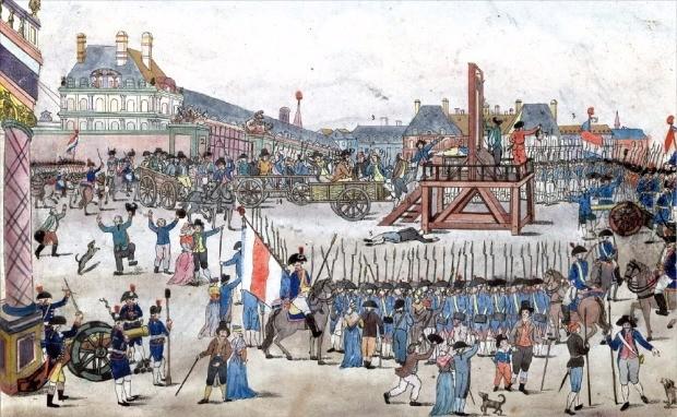 """프랑스혁명기 자코뱅파의 공포정치를 이끈 로베스피에르와 그의 지지자들이 1794년 7월28일 단두대에서 처형되는 모습을 묘사한 그림(작자 미상). 윌러 뉴웰 칼턴대 정치학과 교수는 """"자코뱅파의 공포정치는 장차 등장할 모든 전체주의의 원형으로 볼 수 있다""""고 설명했다. 위키피디아"""
