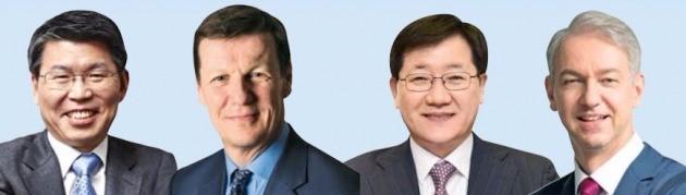 은성수 한국투자공사 사장(왼쪽부터), 루크 엘리스 영국 맨그룹 CEO, 강면욱 국민연금 기금본부장, 스테판 크라우치 ILS어드바이저스 대표.