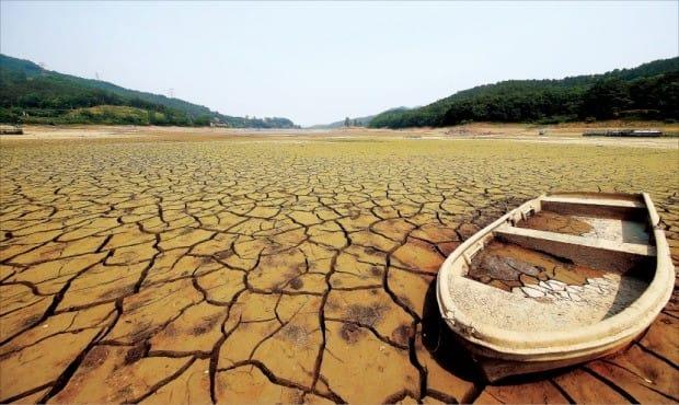 < 바닥까지 마른 저수지 > 계속되는 가뭄으로 29일 경기 안성시 금광저수지 바닥이 거북이 등처럼 갈라져 있다. 연합뉴스