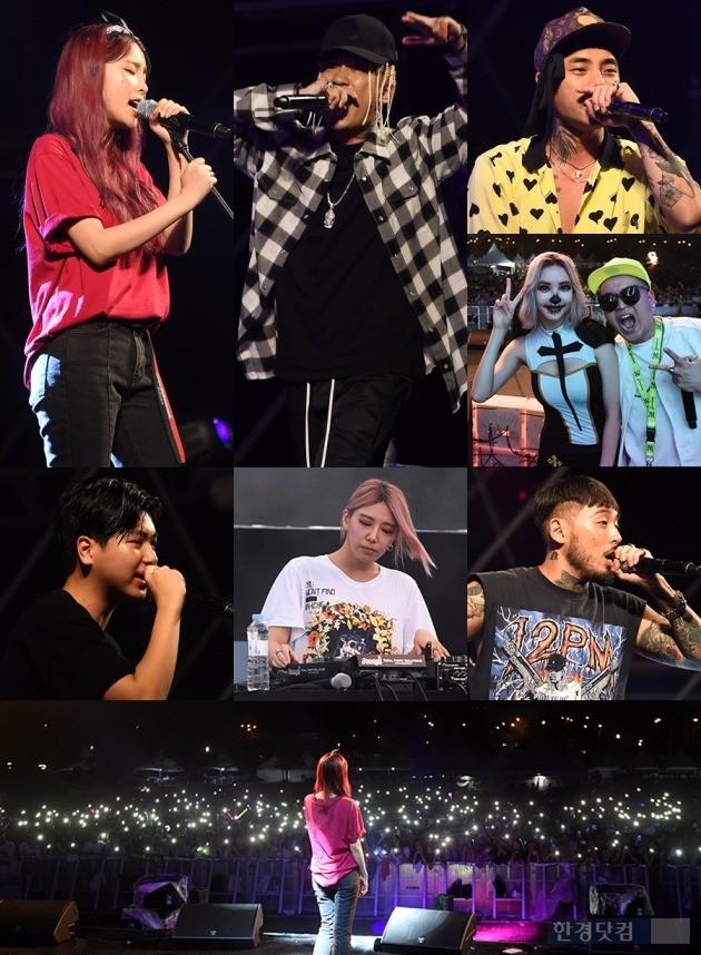 헤이즈(왼쪽부터 시계방향), 도끼, 레디, DJ라나+행오버, 루드페이퍼 쿤타, DJ크림, 최하민이  하트비트페스티벌에서 공연을 펼치고 있다.