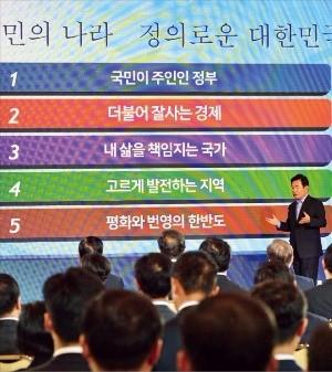 김진표 국정기획자문위원장이 19일 청와대 영빈관에서 열린 국정과제 보고대회에서 '국정운영 5개년 계획'을 발표하고 있다. 허문찬 기자 sweat@hankyung.com