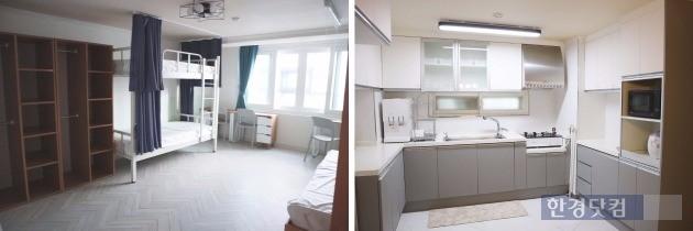 아파트 '안방'에 해당하는 공간. 가장 큰 방에는 여러 룸메이트를 두고 생활할 수 있게 꾸몄다. 방안에는 화장실이 있다. 부엌 역시 깔끔한 편이다.
