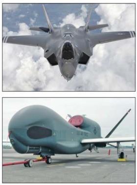 스텔스 기능을 갖춘 'F-35'(위 사진)와 무인정찰기 '글로벌호크'.
