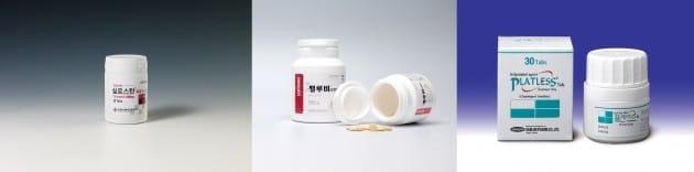왼쪽부터 한국유나이티드제약 실로스탄CR, 대원제약 펠루비서방정, 삼진제약 플래리스. 각사 제공