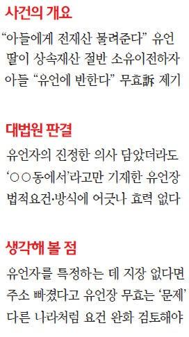 """[대한민국을 흔든 판결들] """"주소 안 쓴 자필유언장 무효""""…'유언의 자유' 지나치게 제한"""