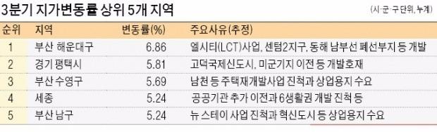 올들어 세종 땅값 5.2% 올랐다… 부산·제주·대구 순