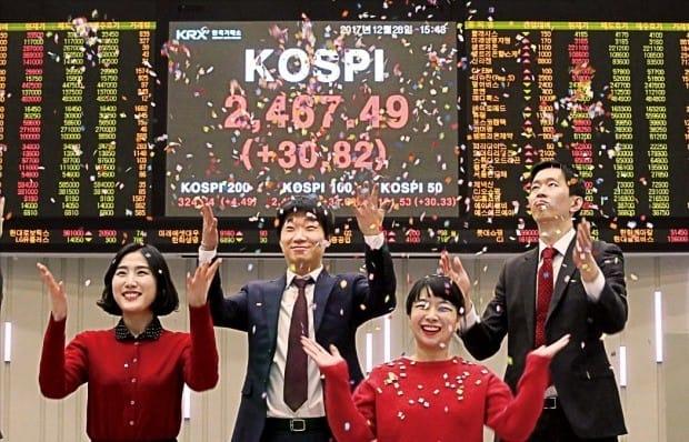 증시 폐장일이던 작년 12월28일 코스피지수는 30.82포인트(1.26%) 오른 2467.49로 마감했다. 주요 증권사는 올해 코스피지수 범위 상단을 2800~3100으로 전망했다.  김범준 기자 bjk07@hankyung.com