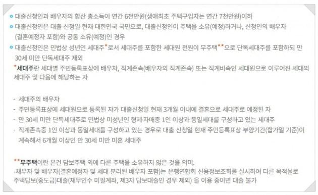 디딤돌대출 자격 기준. 한국주택금융공사 제공