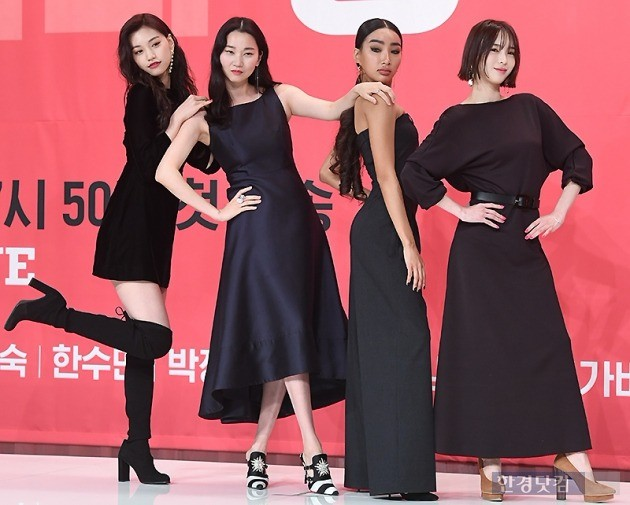 (왼쪽부터) 걸그룹 위키미키 장도연, 모델 장윤주, 문가비, 김수미가 온스타일 '겟잇뷰티' MC 군단에 합류했다. / 변성현 기자