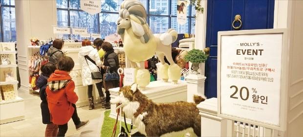 반려동물 관련 시장은 매년 20%씩 성장하고 있다. 14일 신세계 스타필드고양의 반려동물 용품 편집숍 '몰리스펫샵'에서 방문객들이 펫 용품을 살펴보고 있다.  /이마트 제공
