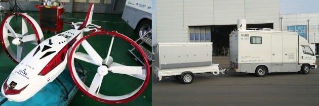 틸트덕트 수직이착륙 비행로봇시스템 중 한국항공우주연구원이 개발한 비행체(사진 왼쪽)와 퍼스텍이 개발한 이동식 지상통제장비(오른쪽). 퍼스텍 제공